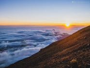 Sunrise near the summit of Mount Rinjani, Lombok Island, West Nusa Tenggara, Indonesia