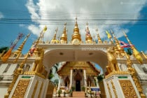 Spires on the gate of a temple, in Phrae, Thailand