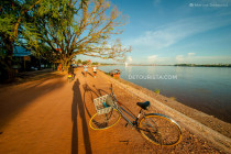 Bicycle tour along the Mekong riverside, in Vientiane, Laos