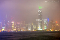 Symphony of Lights facing Central, Hong Kong Skyline, viewed during a rainy evening from Tsim Sha Tsui waterfront