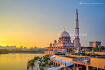 "Putra ""Pink"" Mosque under the sunset light in Putrajaya, Malaysia"