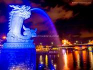 Water-spewing Carp-Dragon Statue and the Dragon Bridge, at night, in Da Nang, Vietnam