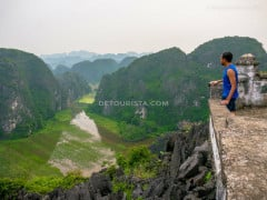 Closer view of Tam Coc from the ledge, in Ninh Binh, Vietnam, on September 2015