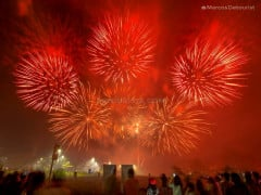 Fireworks display during the Dinagyang Festival in Iloilo Business Park, in Iloilo City, Philippines