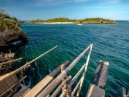 Cliff diving at Magic Island, near Boracay Island, Malay, Aklan, Philippines