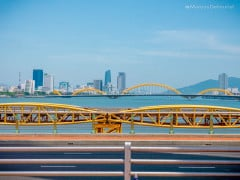 View of the riverside and skyline from the Tran Thi Ly Bridge in Da Nang, Vietnam