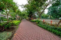 Park along the canal, in Surabaya, East Java, Indonesia