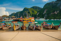 Colorful Long Tail Boats docked in Phi Phi Don Island, Krabi, Thailand