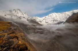 Sunrise view of the Annapurna Mountains from Annapurna Base Camp in Nepal