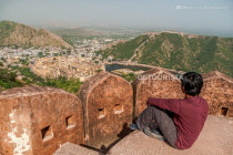 View of Amber Fort from Jaigarh Fort in Amber, Jaipur, India