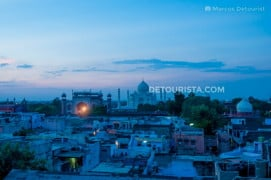 View of Taj Mahal from Shanti Lodge Rooftop during Sunset in Agra, India