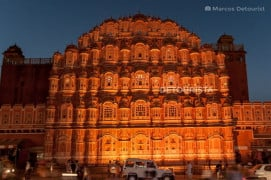 Hawa Mahal at night in Jaipur, Rajasthan, India