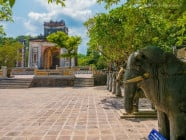Elephant and mandarin concrete statues at Lang Tu Duc (tomb) at the countryside, in Hue, Vietnam, on September 2015