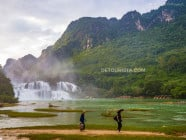 Locals at Ban Gioc Waterfall during sunset, in Cao Bang, Vietnam, on September 2015