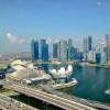 Marina Bay and the Singapore Skyline, viewed from the Singapore Flyer, in Singapore.