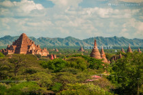 Overlooking view of Buddhist temples in Bagan, Myanmar