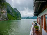 Grey sky, in Ha Long Bay, Quang Ninh, Vietnam