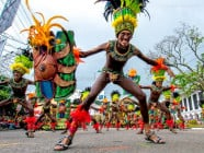 Ati warriors at the Dinagyang Festival 2015, in Iloilo City, Philippines