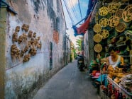 Face-shaped roots and souvenir shops along a narrow alleyway in Hoi An Ancient Town, Quang Nam Province, Vietnam