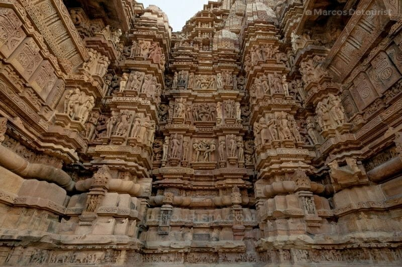 Erotic Carvings on a temple in Khajuraho , Madhya Pradesh, India