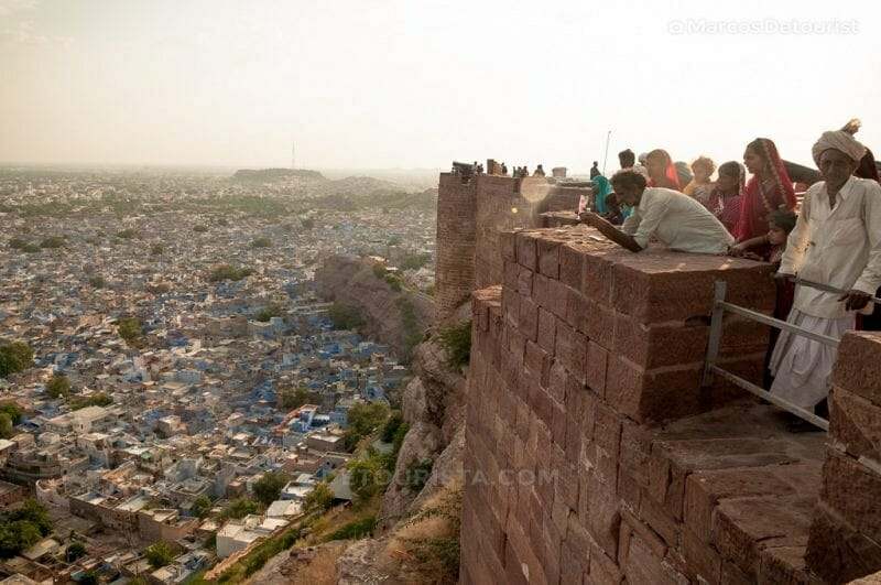 Overlooking view of the blue city from Mehrangarh Fort in Jodhpur, Rajasthan, India