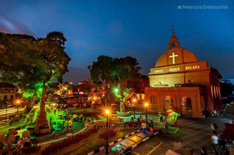 Christ Church at night in the Portugese-colonial district of Melaka, Malaysia