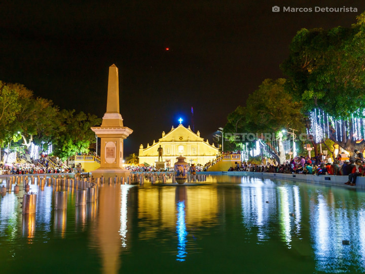 Plaza Salcedo and St. Paul Cathedral at night, in Vigan, Ilocos