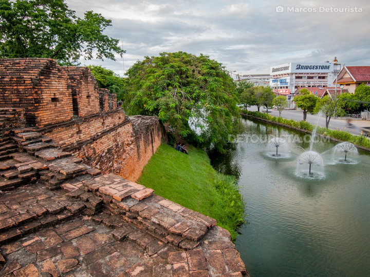 Southeast bastion of the old city wall surrounding Chiang Mai, T