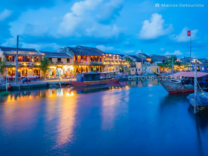 Colorfully Lit Shophouses at Hoi An at Dusk