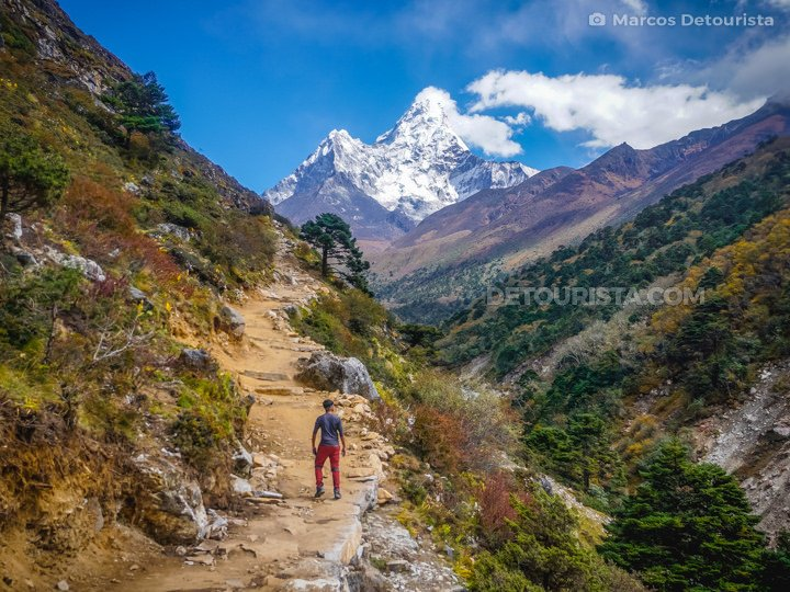 View of Ama Dablam on the trail from Tengboche to Dingboche