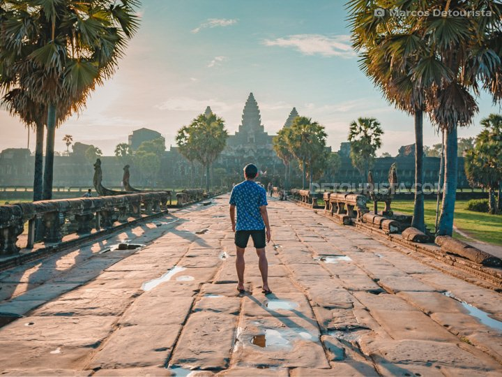 Marcos enjoying the sunrise view at Angkor Wat (temple) in Siem